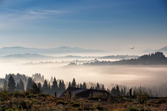 Bird flying over hills and village. Foggy morning in mountains Stock Images