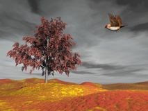 Bird flying to autumn tree - 3D render. Beautiful brown small bird flying to autumn tree by grey cloudy day Royalty Free Stock Image