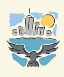 Bird flying to modern city Stock Photos