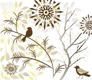 Bird with foliage. Stylized bird with detailed wing and foliage Royalty Free Stock Photo