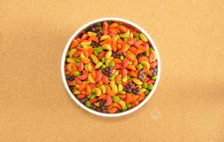 Bird food in stainless bowl Royalty Free Stock Photography