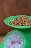 Bird food on weighting scale Royalty Free Stock Image