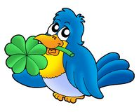 Bird with four leaves clover. Color illustration Royalty Free Stock Photos