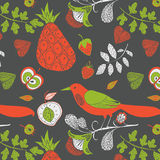 Bird and fruits pattern Stock Photos