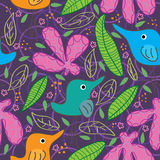 Bird Full Food Flower Leaf Seamless Pattern_eps. Illustration of birds living in full foods, flowers, leaves atmosphere seamless pattern Royalty Free Stock Photos