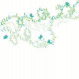 Bird Green Leaves Swirl_eps Royalty Free Stock Photo