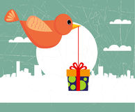 Bird with gift box. Illustration vector Stock Image