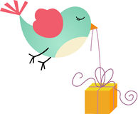 Bird and Gift Box Stock Photo