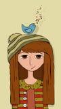 Bird & Girl. Little Girl listening to little blue bird music Stock Images