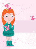 Bird Girl Friend_eps. Illustration of friendly with girl and birds on loves, flowers, pink background card. --- This .eps file info Version: Illustrator 8 EPS Royalty Free Illustration