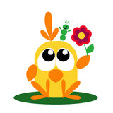 Bird Gives a Flower to Caterpillar. Funny cartoon bird gives a flower to her friend - green caterpillar Royalty Free Stock Photo