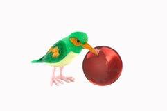 Bird and globe. Colorful bird peck's fruit like glass globe Stock Photos