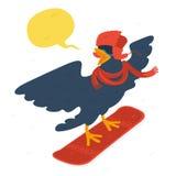 Bird goes snowboarding Royalty Free Stock Photo