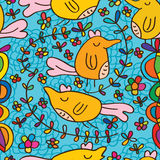 Bird happy cute flower curl seamless pattern Stock Photography