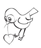 Bird with a heart. A contour Royalty Free Stock Photography