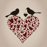 Bird on heart Royalty Free Stock Photo