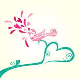 Bird and heart decoration Royalty Free Stock Image