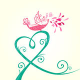 Bird and heart decoration Royalty Free Stock Photography