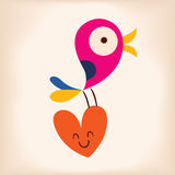 Bird and heart. Love illustration Royalty Free Stock Images