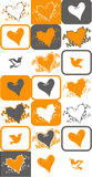 Bird and heart vector. Designs arranged in a pattern of orange and grey colours Stock Image