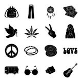 Bird, hemp, leaf and other hippy equipment. Hippy set collection icons in black style vector symbol stock illustration.  Royalty Free Stock Images