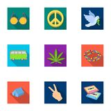 Bird, hemp, leaf and other hippy equipment. Hippy set collection icons in flat style vector symbol stock illustration.  Stock Image