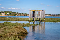 Bird hide on the river entrance to the sea Stock Photography