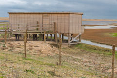 Bird hide, wooden structure, Rye Harbor Royalty Free Stock Photo