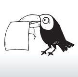 Bird holding paper in mouth Stock Image