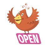 Bird holding a sign with word open Stock Images