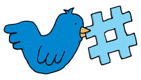 Bird holding a twitter tag topic Stock Photo