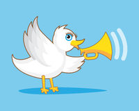 Bird With Horn. White Bird with gold Horn Stock Images
