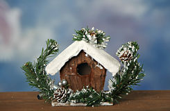 Bird House. Birdhouse up close decorated in snow stock images