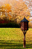 Bird house. In city park at fall autumn stock images