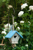 A bird house. With white flowers royalty free stock photography