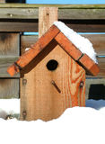 Bird house. Blue tit house surrounded by snow Royalty Free Stock Photography