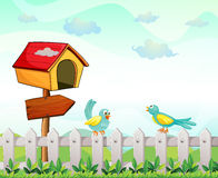 A bird house with an arrow board and birds above the fence Royalty Free Stock Image