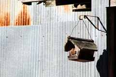 Bird House on a barn. With barn tin outdoor shed stock image