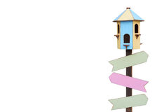 Bird House. With blank arrow signs stock photography