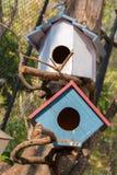 Bird house. Blue and white Royalty Free Stock Photos
