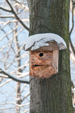 Bird house. Booth breeding on tree Royalty Free Stock Photos