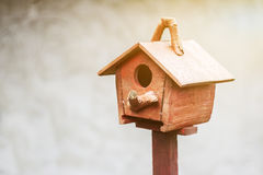 The Bird House. The brown wooden bird house Stock Photo