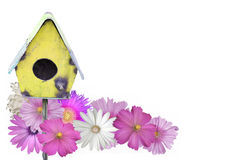 Bird House and Flowers Summer Stock Photography
