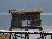 Bird house on a Great Lake Prespa, Macedonia. Picture of a Great Lake Prespa, Macedonia Stock Photos
