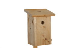 Bird- house. Handmade wooden bird- house on white background stock photo
