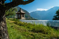 Bird house hanging out a tree. In the Saint Jean de Maurienne valley in France Stock Image