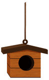 Bird house hanging on rope Royalty Free Stock Photography