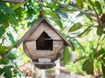 Bird house hanging among the trees Royalty Free Stock Photos