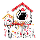 Bird house illustration Stock Images