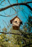 Bird house made of wood. In view stock photography